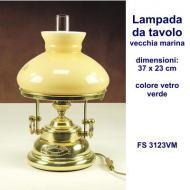 Lampada da tavolo in ottone massiccio stile vecchia marina con vetro colore verde dimensioni 37x23 cm; colore vetro verde