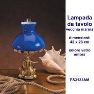 Lampada da tavolo in ottone massiccio stile vecchia marina con vetro colore ambra dimensioni 37x23 cm