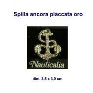 Spilla forma ancora con brillantini tipo swarovski dim. 3,5 x 3,0 cm