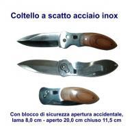 Coltello a scatto acciaio inox, finitura legno sul manico, molla per aggancio alla cintura. lama 8,0 cm aperto 20,0 cm chiuso 11,5 cm