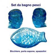 Set da bagno infrangibile forme pesce, Bicchiere, porta sapone, porta spazzolini