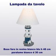 Lampada da tavolo base forma faro in resina bianco/blu h 48,0 cm paralume bianco d 30 cm