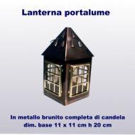 Lanterna in metallo brunito completa di candela estraibile da sotto dim base 11x11 cm h 20 cm