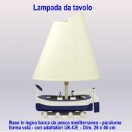 Lampada da tavolo base in legno forma barca mediterranea - paralume forma vela - dim. 26 x L 46 cm