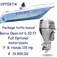 Imbarcazione open mt 6,30 ft full Optional con motore Honda BF 115D LU