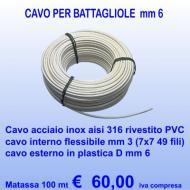 100 mt cavo inox Aisi 316 rivestito in PVC bianco, D 6 mm