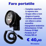 Faro portatile impermeabile ricoperto in neoprene 55 Watt 12 Volt
